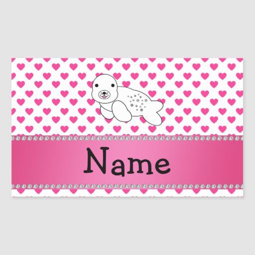 Personalized name seal pink hearts polka dots rectangular stickers