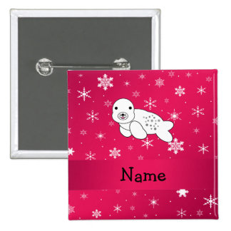 Personalized name seal pink snowflakes 15 cm square badge