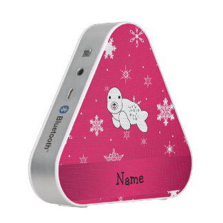 Personalized name seal pink snowflakes bluetooth speaker