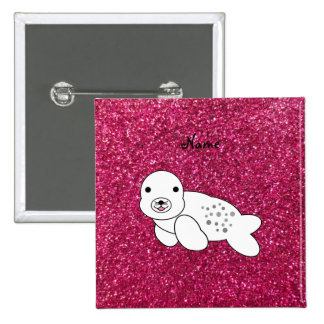 Personalized name seal pup pink glitter 15 cm square badge