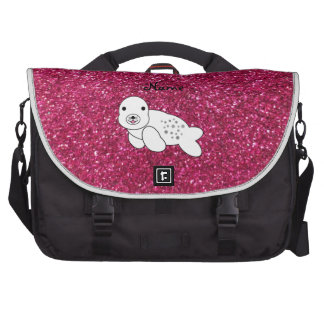 Personalized name seal pup pink glitter laptop shoulder bag