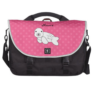Personalized name seal pup pink polka dots laptop shoulder bag
