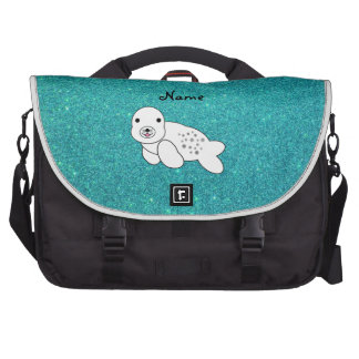 Personalized name seal pup turquoise glitter bags for laptop