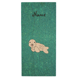Personalized name seal pup turquoise glitter wood USB flash drive