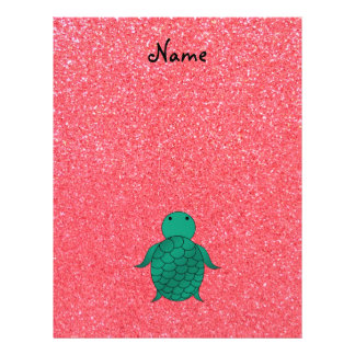 Personalized name seat turtle pink glitter 21.5 cm x 28 cm flyer