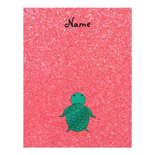 Personalized name seat turtle pink glitter full color flyer