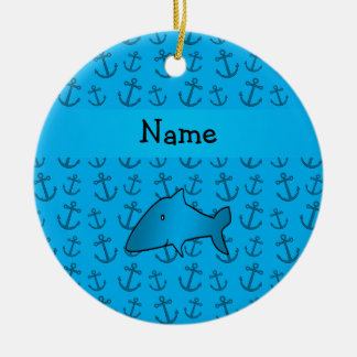 Personalized name shark blue anchors pattern christmas ornament