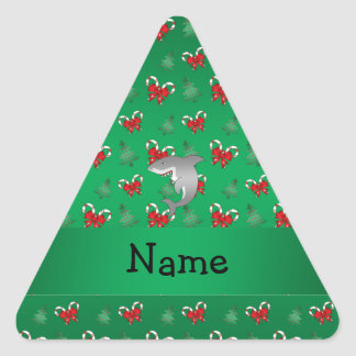 Personalized name shark green candy canes bows stickers