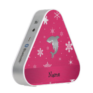 Personalized name shark pink snowflakes speaker