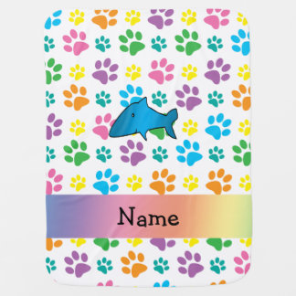 Personalized name shark rainbow paws swaddle blankets