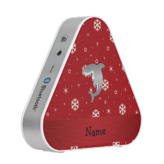 Personalized name shark red snowflakes speaker