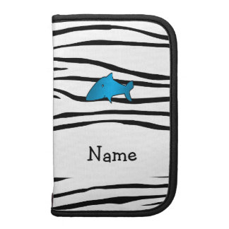 Personalized name shark zebra stripes planners