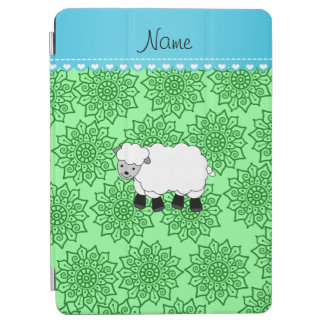 Personalized name sheep green flowers iPad air cover
