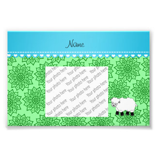 Personalized name sheep green flowers photo