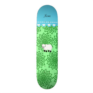 Personalized name sheep green flowers 21.6 cm skateboard deck