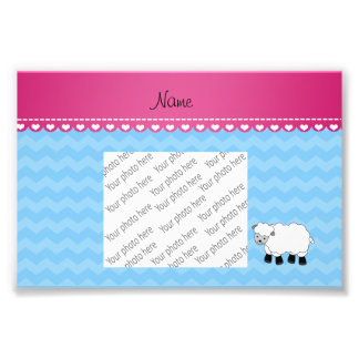 Personalized name sheep pastel blue chevrons photographic print