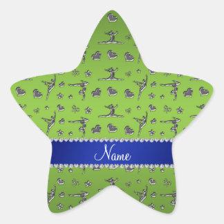 Personalized name silver bright green gymnastics star sticker