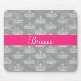 Personalized Name Silver Damask Diamond Crown Mouse Pad