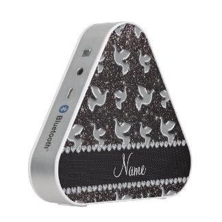 Personalized name silver dove black glitter bluetooth speaker