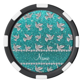 Personalized name silver dove bright aqua glitter poker chips