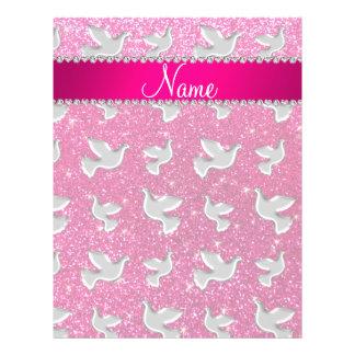 Personalized name silver dove neon hot pink glitte 21.5 cm x 28 cm flyer