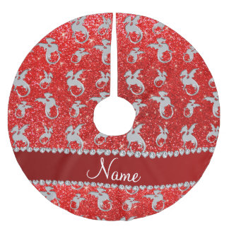Personalized name silver dragons neon red glitter brushed polyester tree skirt