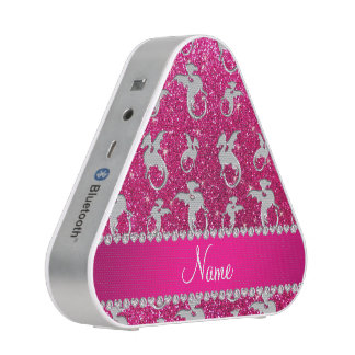 Personalized name silver dragons pink glitter speaker