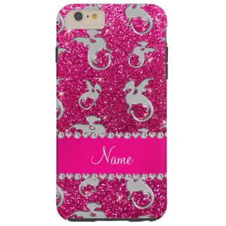 Personalized name silver dragons pink glitter tough iPhone 6 plus case