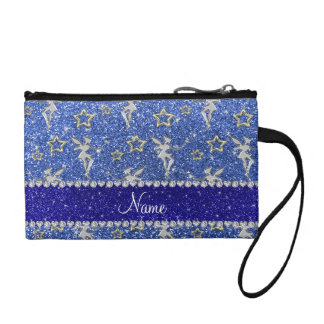 Personalized name silver fairy gold stars blue gli coin wallet