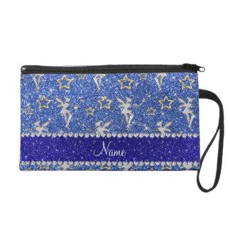 Personalized name silver fairy gold stars blue gli wristlet purse