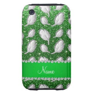 Personalized name silver feathers green glitter iPhone 3 tough covers