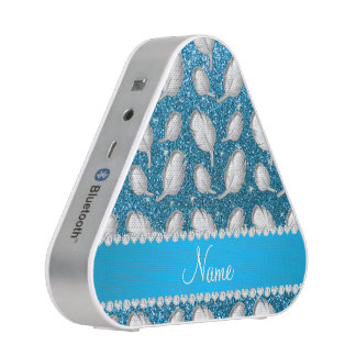 Personalized name silver feathers sky blue glitter speaker