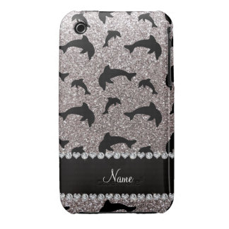 Personalized name silver glitter dolphins iPhone 3 Case-Mate case