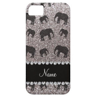 Personalized name silver glitter elephants iPhone 5 cases