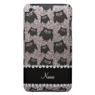 Personalized name silver glitter owls barely there iPod case