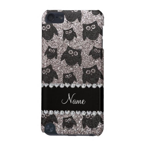 Personalized name silver glitter owls iPod touch 5G cases