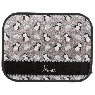 Personalized name silver glitter penguins igloos car mat
