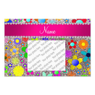 Personalized name silver glitter retro flowers photograph