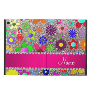 Personalized name silver glitter retro flowers powis iPad air 2 case