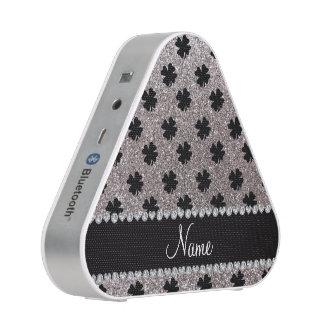 Personalized name silver glitter shamrocks speaker