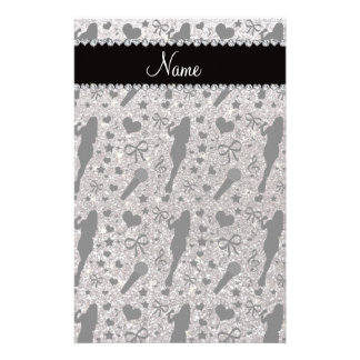 Personalized name silver glitter singer custom stationery