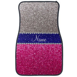 Personalized name silver hot pink glitter floor mat