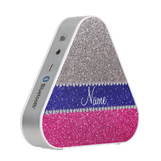 Personalized name silver hot pink glitter bluetooth speaker