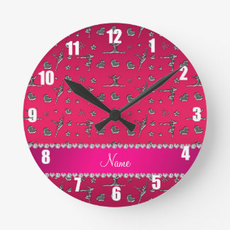 Personalized name silver magenta pink gymnastics round clock
