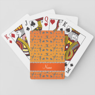 Personalized name silver orange gymnastics playing cards