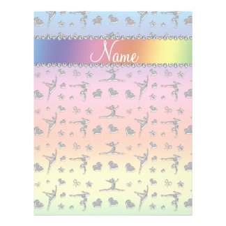 Personalized name silver pastel rainbow gymnastics full color flyer