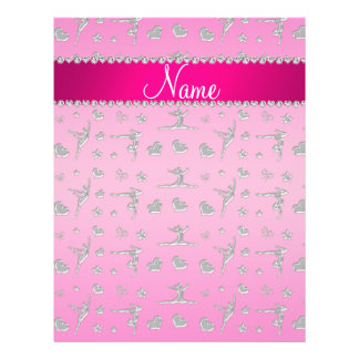 Personalized name silver pink gymnastics 21.5 cm x 28 cm flyer