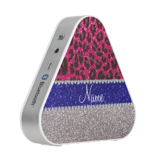 Personalized name silver pink leopard glitter speaker