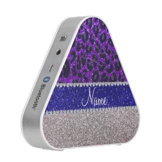 Personalized name silver purple leopard glitter speaker