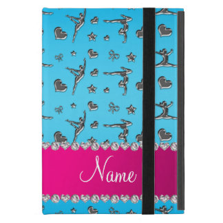 Personalized name silver sky blue gymnastics iPad mini cover